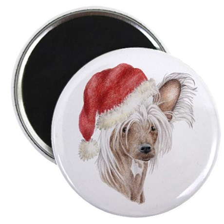 Christmas Chinese Crested Dog Magnet By Doggyprint
