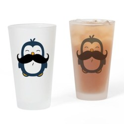 Mustache Penguin Trend Drinking Glass  A cute blue chubby penguin with a huge black trendy mustache.