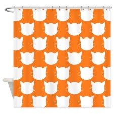 Orange and White Cat Pattern Shower Curtain