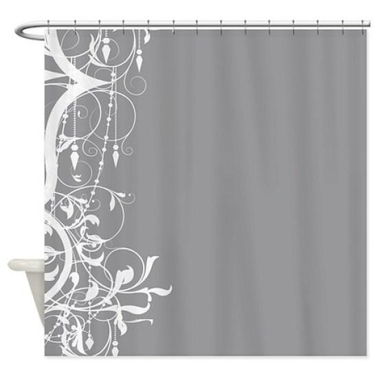 Shabby Chic Grey Chandelier Shower Curtain