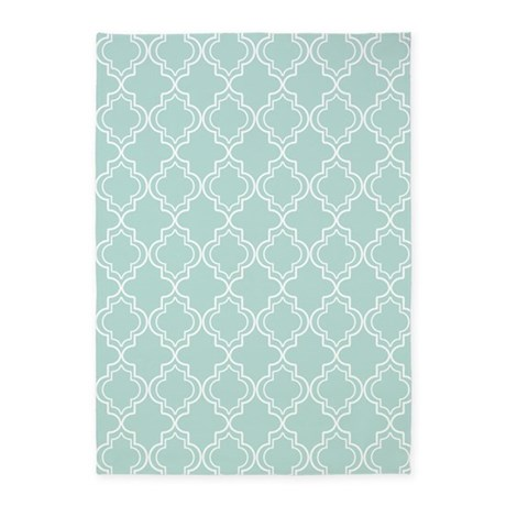 Light Teal Moroccan Quatrefoil 5x7Area Rug By HHTrendyHome