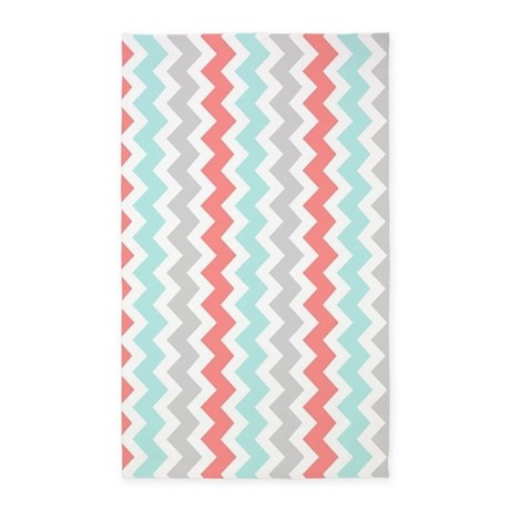 Coral Aqua Grey Chevron Pattern 3x5 Area Rug By DreamingMindCards