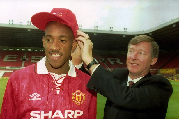 Fergie with signing Dion Dublin.