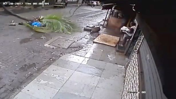 The hair-raising incident was captured on a CCTV camera installed in the vicinity (Image: Caters News Agency)