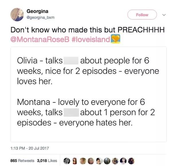 Montana throws shade at Olivia