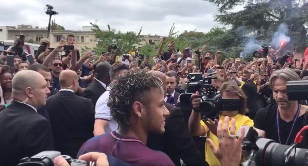 Neymar is greeted by his new fans