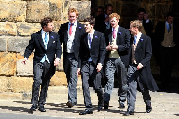 Britain's Prince William, and Prince Harry, follow groom Thomas van Straubenzee