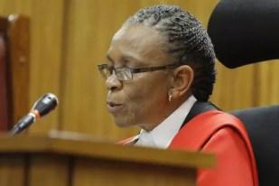 Judge Thokozile Masipa reads her verdict in the trial of Oscar Pistorius