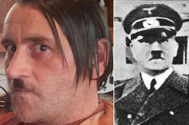 Lutz Bachmann, leader of Pegida posing as Adolf Hitler, and his role model