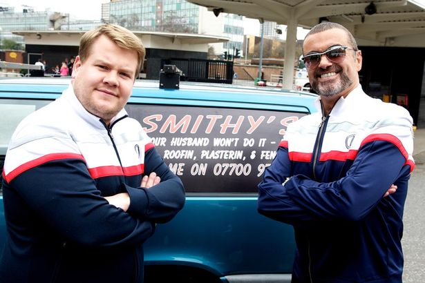 Image result for james corden and george michael