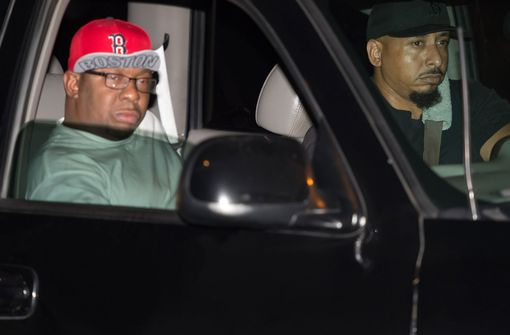 Musician Bobby Brown is seen being driven from the Peachtree Christian Hospice after Bobbi Kristina Brown passes away