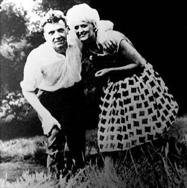 Child killers Myra Hindley and Ian Brady, on the moors where they buried their victims
