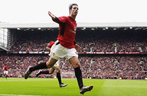 Ruud van Nistelrooy of Manchester United celebrates scoring the second goal during the FA Barclaycard Premiership match between Manchester United and Charlton Athletic