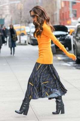 Victoria Beckham spotted in a stylish outfit while arriving to work at her office in chelsea in New York City