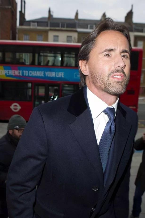 The Husband of Formula 1 heiress Tamara Ecclestone, Jay Rutland arrives at Thames Magistrate Court in East London