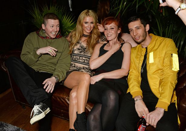 Professor Green, Paris Hilton, Kate Rothschild and Example attend the launch of Restaurant Ours in Kensington on April 27, 2016 in London
