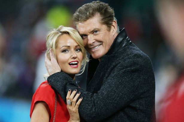 David Hasselhoff hugs welsh girlfriend Hayley Roberts during the 2015 Rugby World Cup Pool