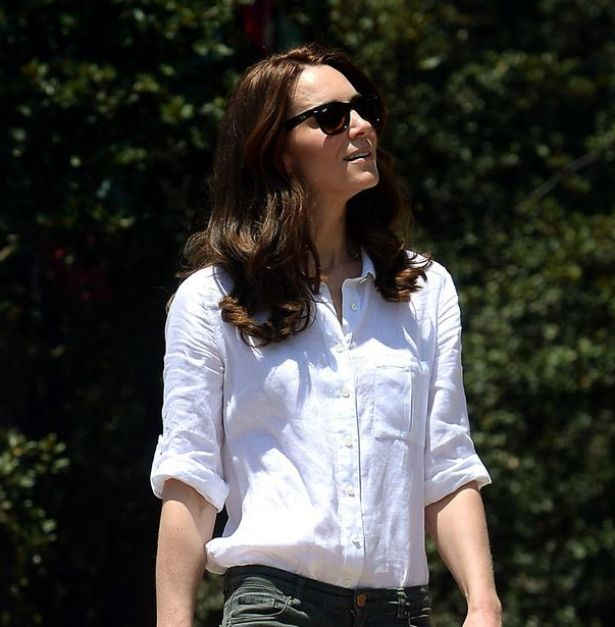 Kate Middleton wore a white linen shirt from Jaeger for the climb