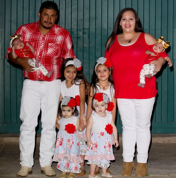 Augustina and Jose Higuera with their three sets of twins
