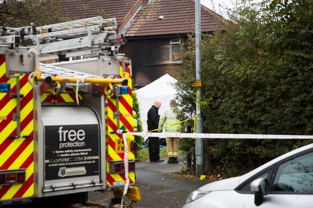 The scene at Platt Avenue in Sandbach, where an eight-year-old boy died after a house fire