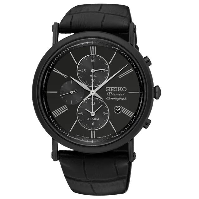 【SEIKO 精工】Premier 三眼計時男錶 皮革錶帶 黑 防水100米 藍寶石玻璃鏡面 日期顯示(SNAF79P1)