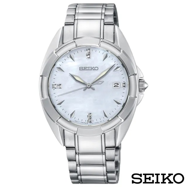 【SEIKO 精工】奢華晶鑽白蝶貝藍寶石夜光石英女錶(SKK885P1)