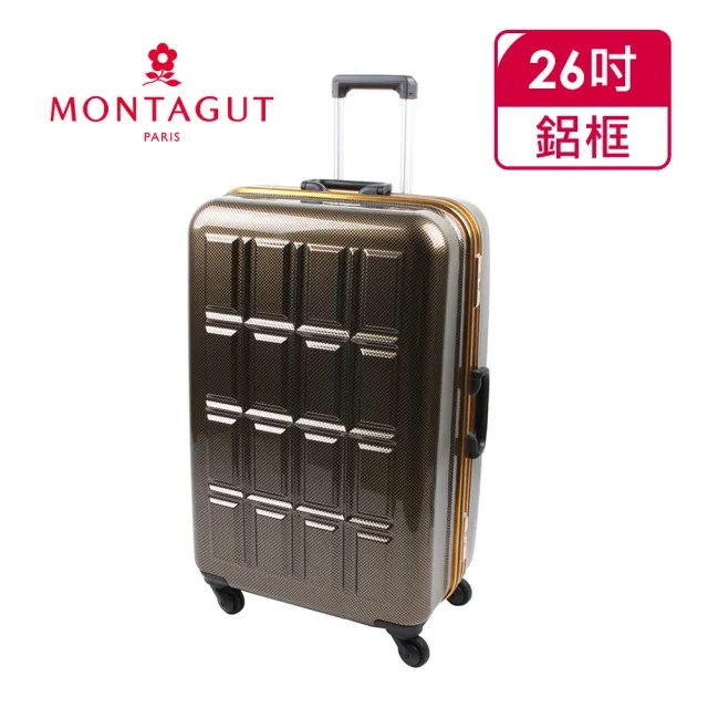 【MONTAGUT夢特嬌】26吋超輕量鋁鎂框日本輪鏡面行李箱(耐衝擊ABS+美型PC)