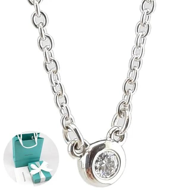 【Tiffany&Co. 蒂芙尼】明亮切割圓形鑽石墜飾925純銀項鍊