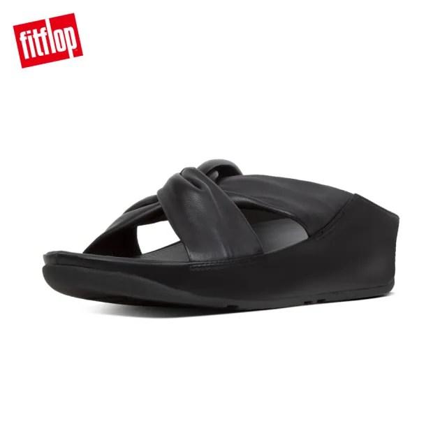 【FitFlop】TWISS LEATHER SLIDES 時尚扭結設計交叉涼鞋-女(黑色)