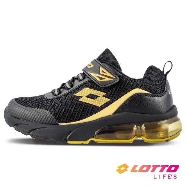 【LOTTO】運動鞋 兒童鞋  Shiny 閃耀氣墊跑鞋(黑/金-LT1AKR3070)
