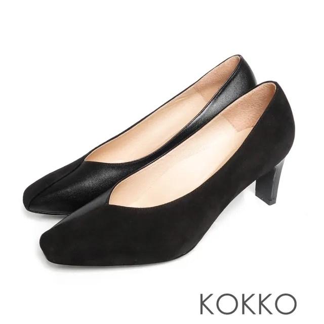 【KOKKO 集團】極致平穩V字剪裁方頭舒壓扁跟鞋(經典黑)