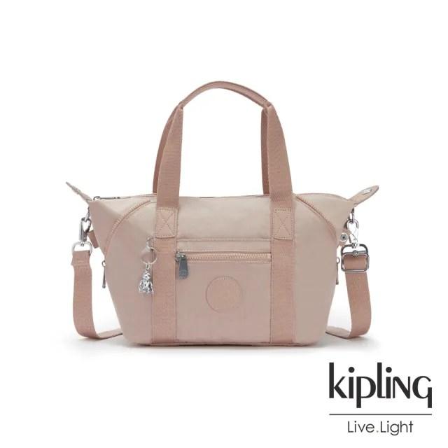 【KIPLING】玫瑰拿鐵色手提側背包-ART MINI
