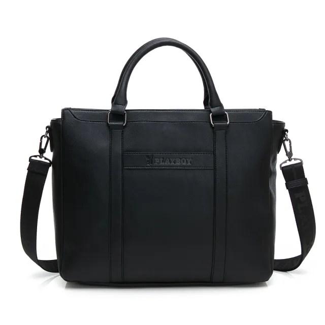 【PLAYBOY】公事包附長背帶 minimalism(黑色)
