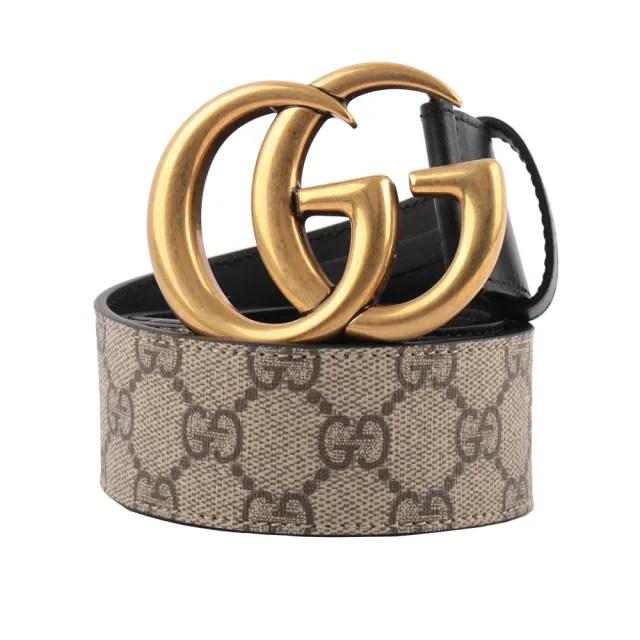 【GUCCI 古馳】霧金雙G Logo 防水皮革拼牛皮皮帶(棕色)
