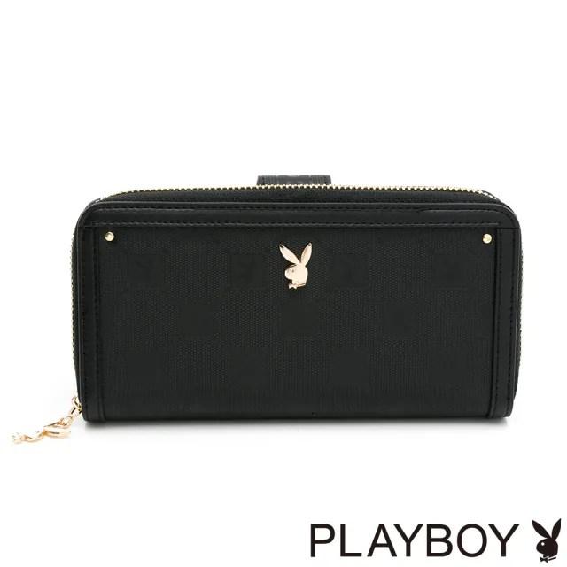 【PLAYBOY】翻蓋+ㄇ拉長夾 Brilliant系列(黑色)