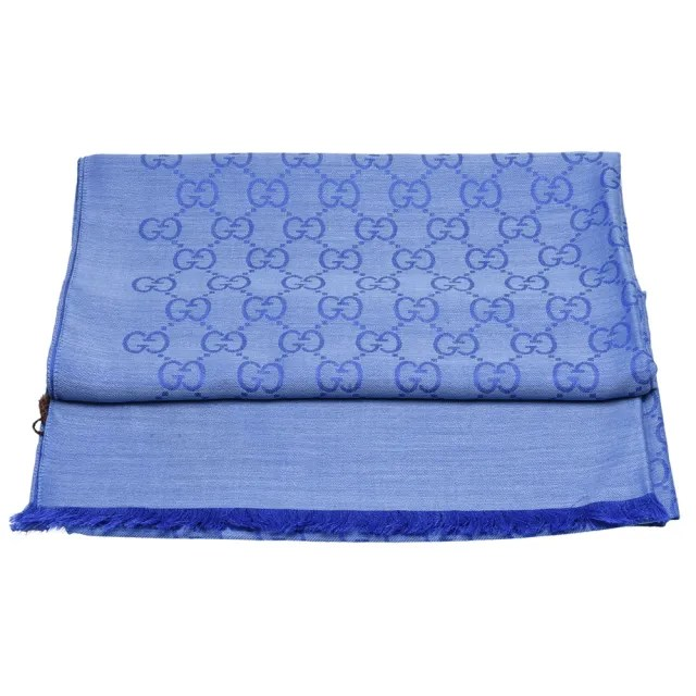 【GUCCI 古馳】經典大G緹花羊毛混絲流蘇圍巾(藍-70X200cm-165903-3G646-4769)