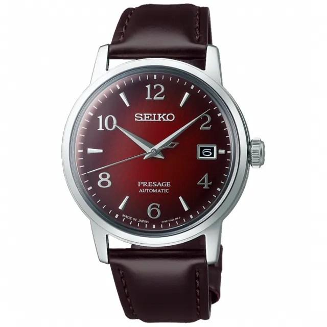 【SEIKO 精工】Presage 調酒師微醺時光經典機械錶-紅/38.5mm(SRPE41J1/4R35-04A0R)
