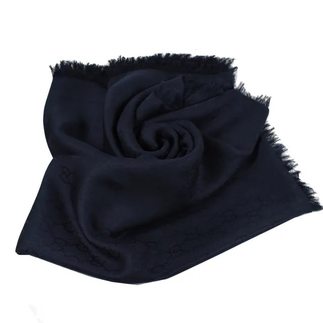 【GUCCI 古馳】經典雙G緹花絲綢羊毛披肩大絲巾圍巾(深藍)