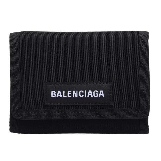 【Balenciaga 巴黎世家】經典Explorer系列品牌字母LOGO尼龍三摺短夾(黑507481-9TYY5-1000)