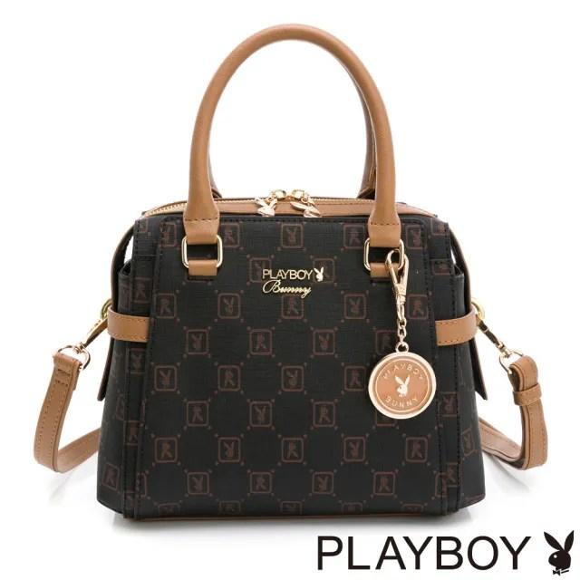 【PLAYBOY】手提包附長背帶 焦糖可可系列(咖啡色)