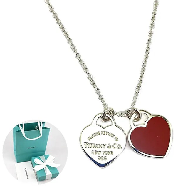 【Tiffany&Co. 蒂芙尼】心心相映迷你吊牌墜飾925純銀紅瓷項鍊