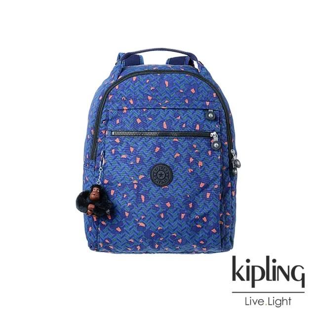 【KIPLING】絢麗花卉孔雀藍手提後背包-MICAH