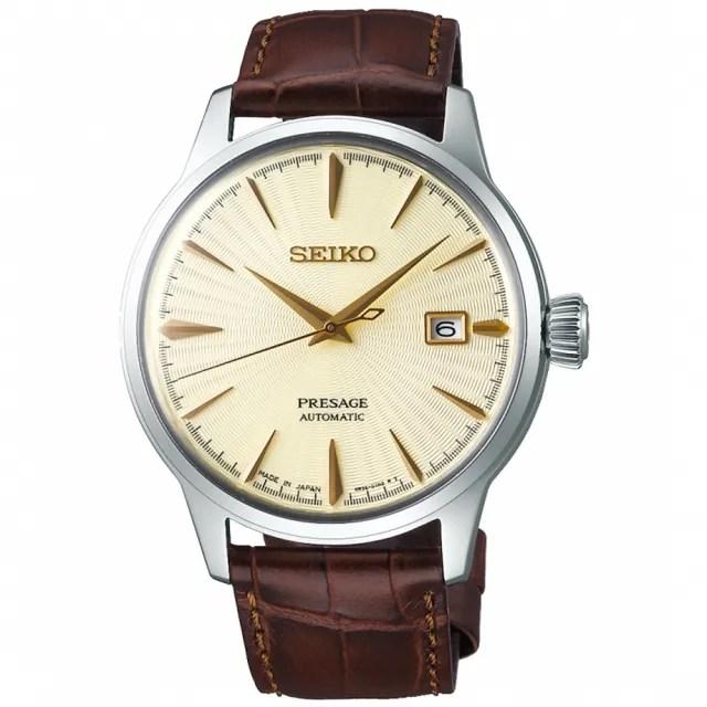 【SEIKO 精工】Presage 調酒師紳士風範經典機械錶-咖啡x金/40.5mm(SRPC99J1/4R35-01T0Y)