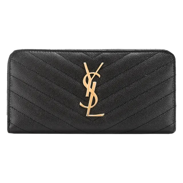 【YSL】Saint Laurent Paris MONOGRAM 金 LOGO V字縫線牛皮拉鍊長夾(金X黑)