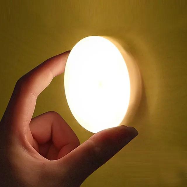電池式便攜磁吸觸控LED圓形小夜燈-1入(走廊/陽台/臥室/客廳/裝潢/居家/租屋)