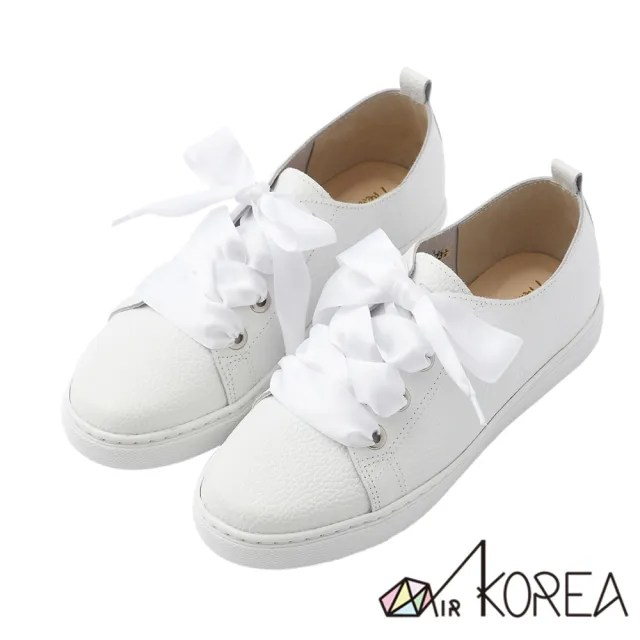 【AIRKOREA】懶人鞋-真皮鞋-全真皮手工3M防水抗污真皮甜美綁帶兩用鞋-白(5220-1814)