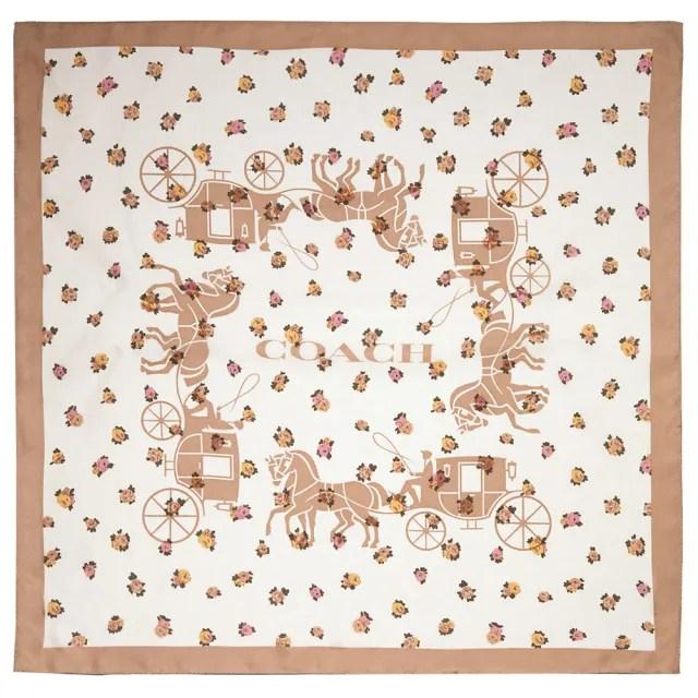 【COACH】專櫃款白X卡其馬車X花朵印花真絲方巾圍巾