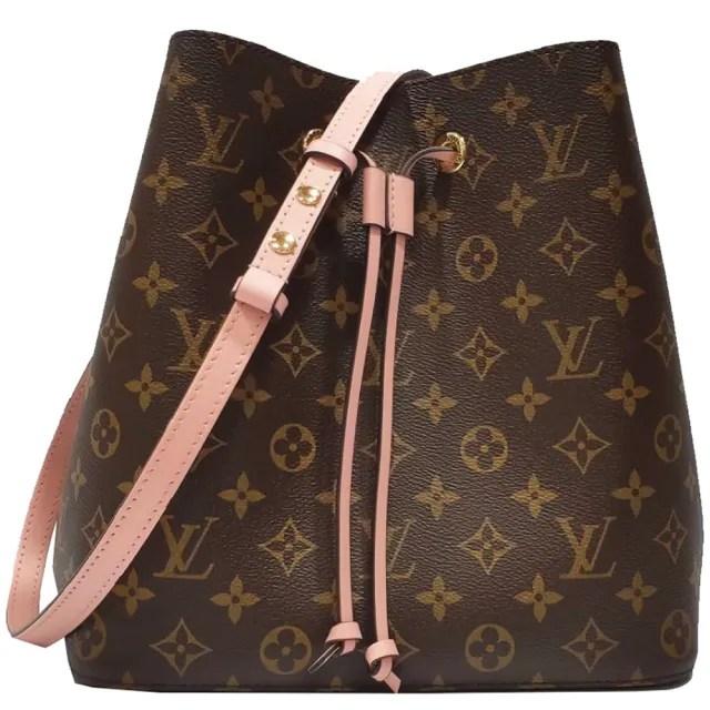 【Louis Vuitton 路易威登】M44022經典Neonoe系列Monogram印花牛皮鑲飾束口斜背/肩背水桶包\(玫瑰粉紅色)