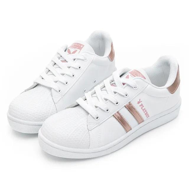 【PLAYBOY】美式街頭 輕量貝殼兔兔小白鞋-玫瑰金-Y72281H