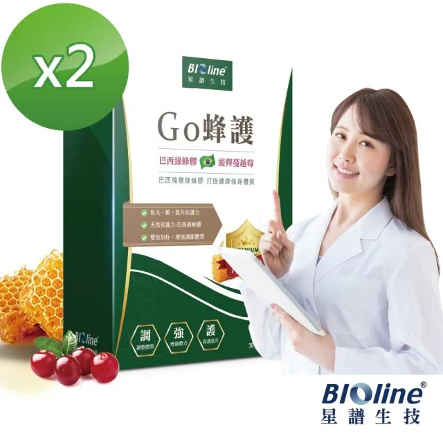 【Bioline 星譜生技】Go蜂護_巴西綠蜂膠防護膠囊2入組(30顆/盒x2)